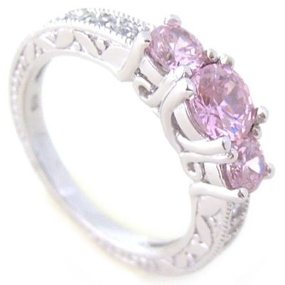 Bague Trilogie de brillants roses