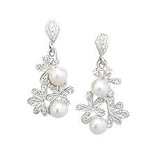 Boucles d'oreille Fleurs Perles et Brillants