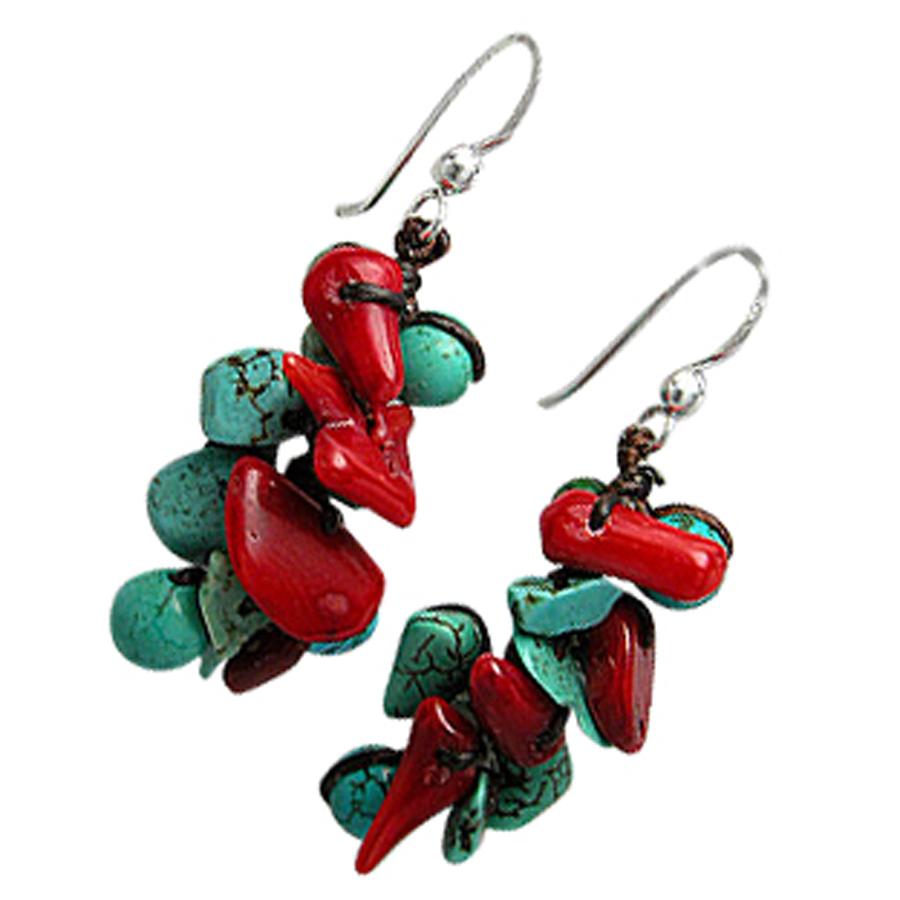 Boucles d'oreilles Turquoises & Corail