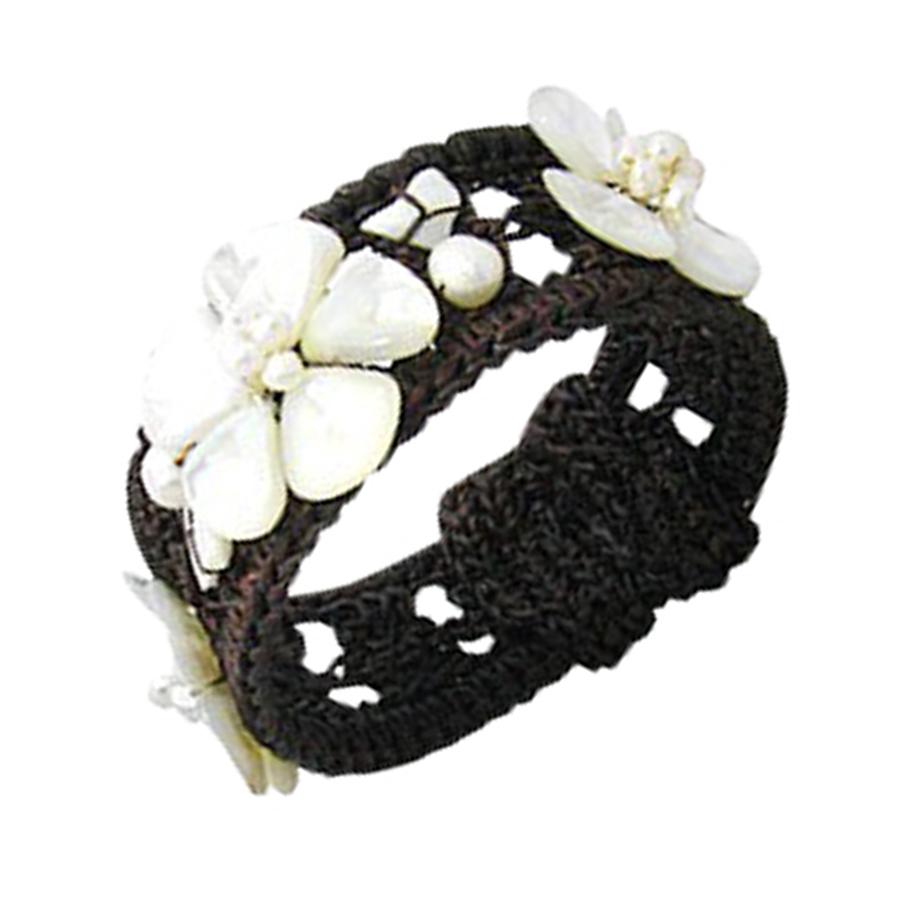 Bracelet Manchette Fleurs de Nacre