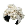 Bracelet Manchette Galuchat blanc Nacre Couture