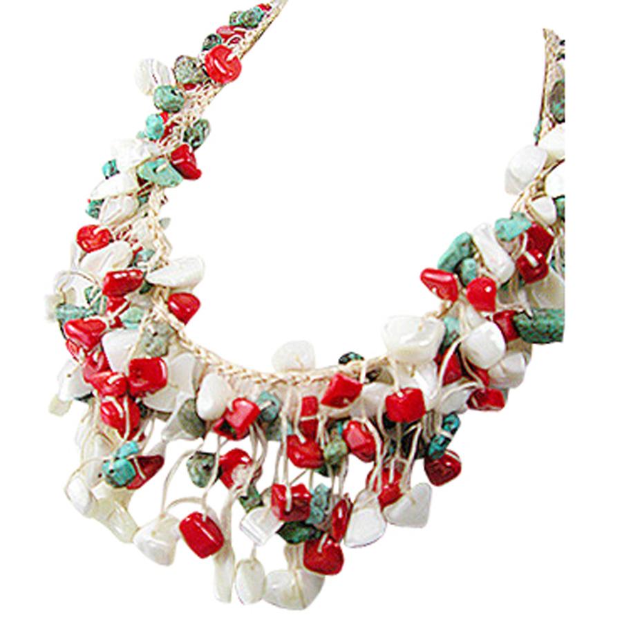 Collier Turqoises Corail & Perles