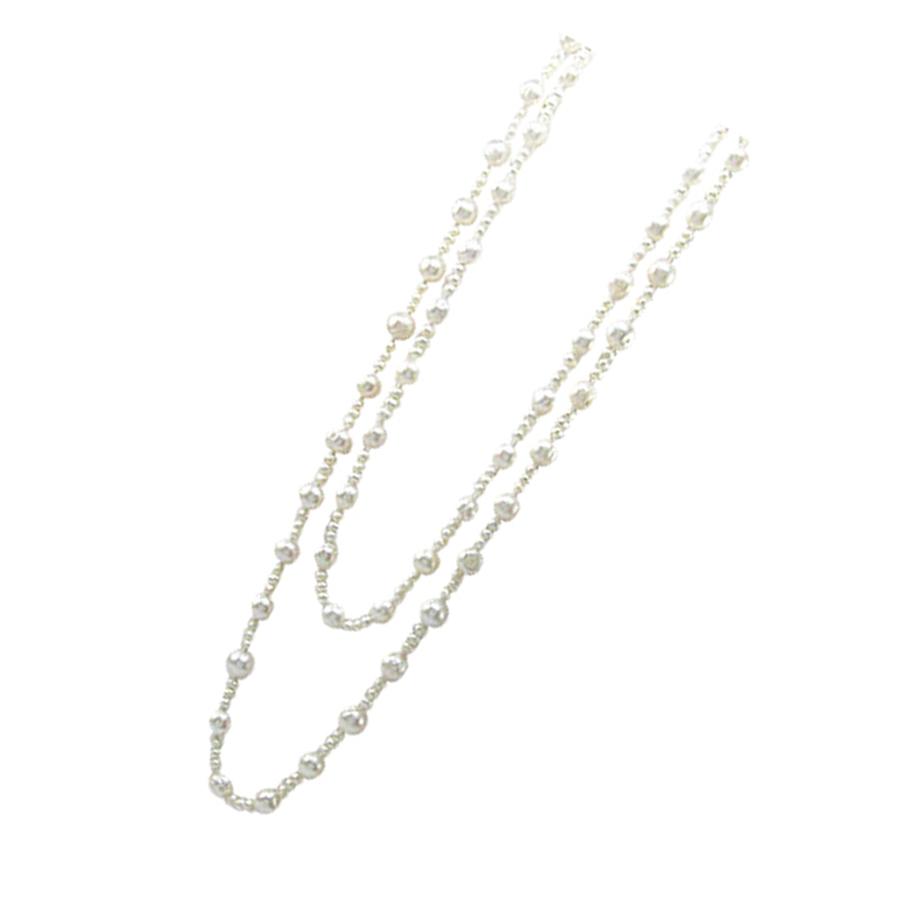 Collier Sautoir Perles Blanches