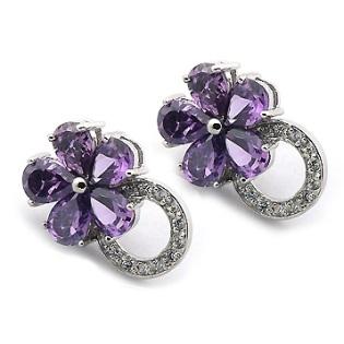 Boucles d'oreilles Fleur Améthyste
