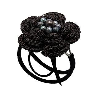 Bracelet Manchette Camélia Perle Noire