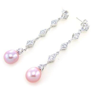 Boucles d'oreilles gouttes perles  rose et brillants